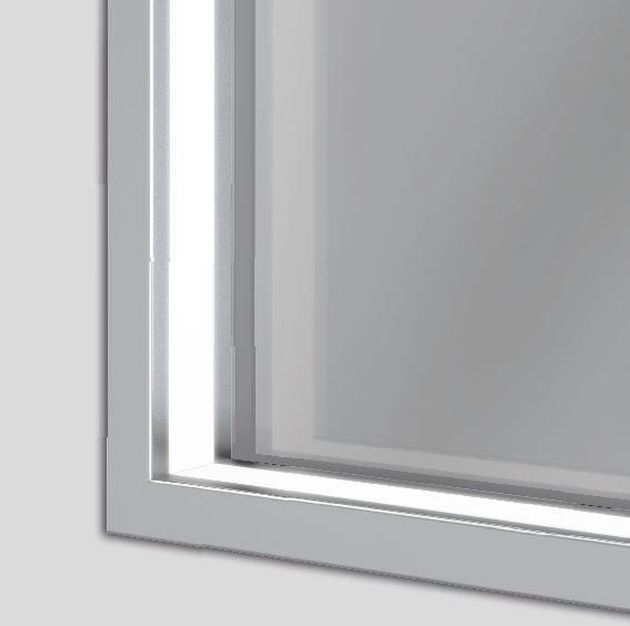 Spiegel Neviano LED warmweiß, Rahmen: Aluminium natur, B:120,0 x H: 70,0 cm, mit Touchdimsensor