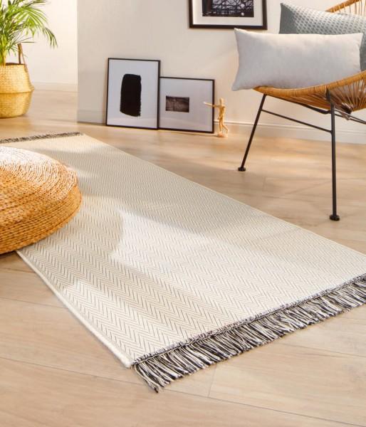 Läufer Teppich mit Fransen ZigZag