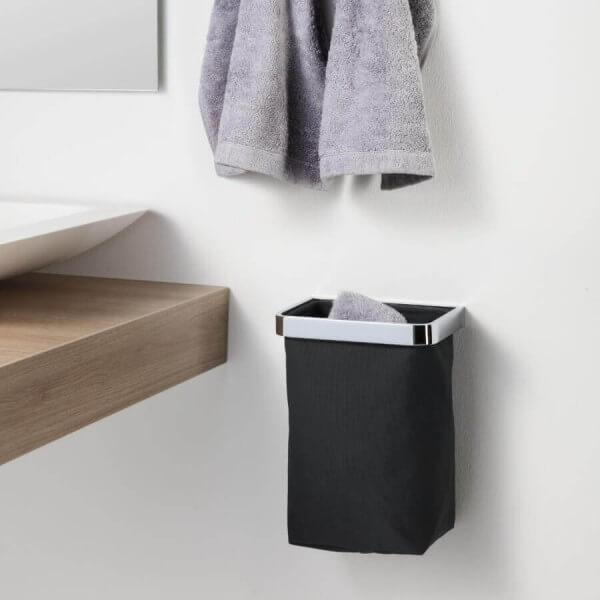 Gästehandtuchkorb ohne bohren zum Kleben mit Stoffbehaelter schwarz